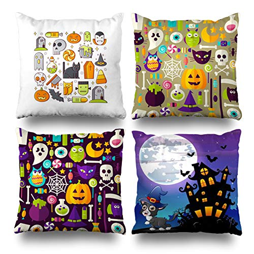 Pakaku Set of 4 Decorativepillows Case Throw Pillows Covers for Couch/Bed 18 x 18 inch, Symbols Halloween Holidays Line Header Banner Flat Home Sofa Cushion Cover Pillowcase Gift Bed Living Home ()