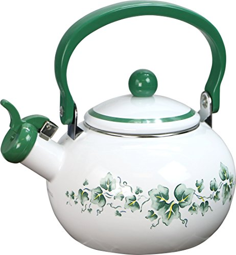 Corelle Coordinates by Reston Lloyd Harmonic Hum Alert Whistling Teakettle with Fold Down Handle, 2-Quart, Callaway (Harmonic Kettle Tea)