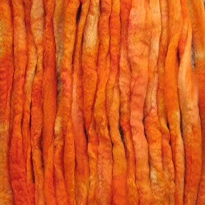 Wool Roving Craft Fiber. Hand Dyed Soft BFL Wool Top. Pre-drafted for easy Hand Spinning, Needle Felting, Wet Felting, Weaving, Embellishments, and Felted Soap. 1 Ounce, Orange