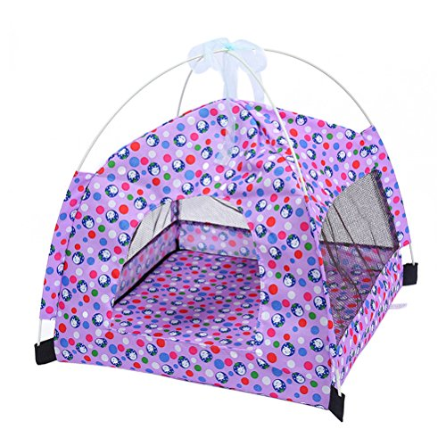 UEETEK Outdoor Cat Dog Puppy Mesh Tent Breathable Sun Shelter House for Pets (Purple)