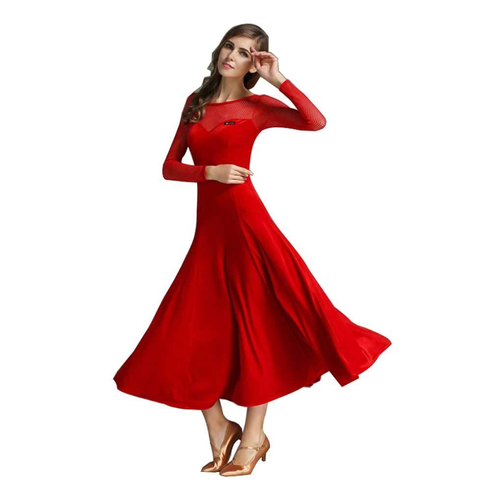 大人のモダンダンスドレスドレス、ロングスリーブダンスドレス、ロングスカート B07HGYQF5G XXL|レッド レッド XXL