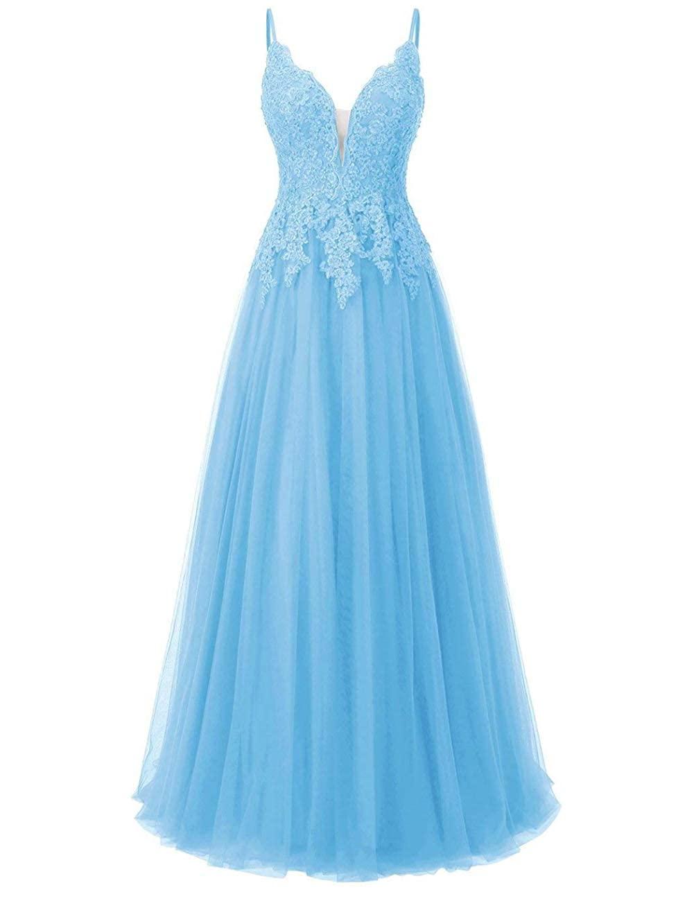 Sky bluee Elegant Long Bridesmaid Dresses with Lace Applique Beads Spaghetti Straps Tulle Prom Gowns
