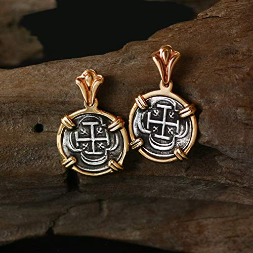 Genuine 100% Atocha Silver Shipwreck Historical Spanish Replica Coin Earrings - Available in 14kt Gold or 925 Sterling Silver Frame - Includes Certificate of Authenticity ()