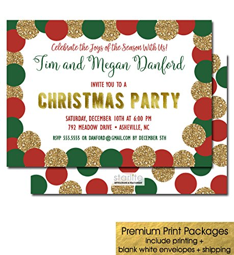 Amazon Com Printed Christmas Party Invitations Holiday Party
