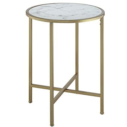 Superieur White Marble Top End Table Faux Marble Topped Table Accent Table Gold  Metallic Base Sturdy Tabletop
