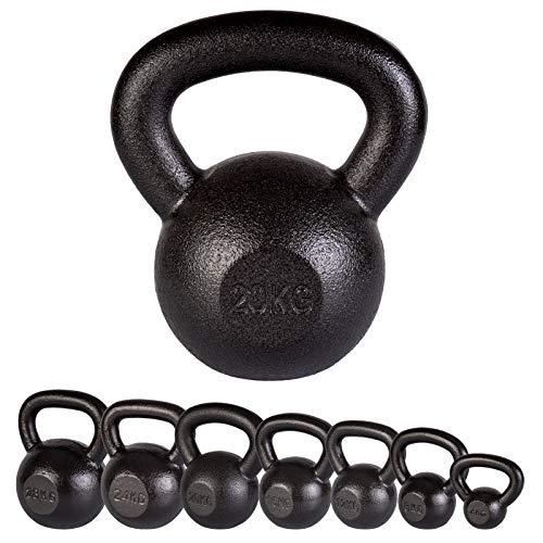 ScSPORTS Kettlebell gietijzer met zwarte hamerslag-look, kogelhalter in 7 gewicht-varianten, 4-28 kg