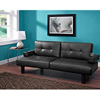 Contemporary Style Split-back With Tufted Faux Leather Upholstery Connectrix Futon, Black