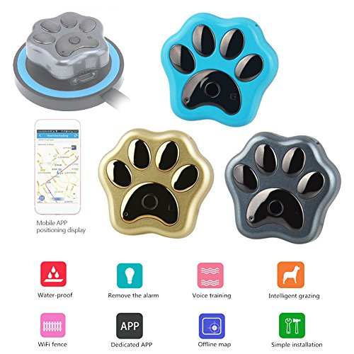 Advanced Gps Dog Locator (Smileyyi Pets GPS Anti-lost Tracker Wireless Charging Pet Tracker and Activity Monitor Waterproof Intelligent2G Tracker Pet WIFI Anti-lost Mini GPS Black Color)