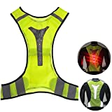 High Visibility Waistcoat, Reflective Vest Safety Vest with LED Reflective Stripes for Night Outdoor Traffic Activities Running, Cycling, Walking and Working