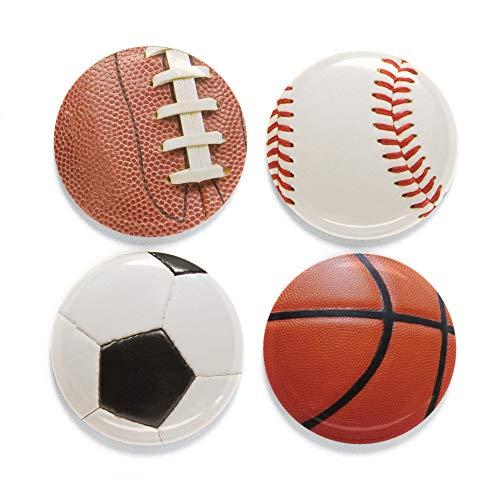 (Buttonsmith Sports Balls Magnet Set - Set of 4 1.25
