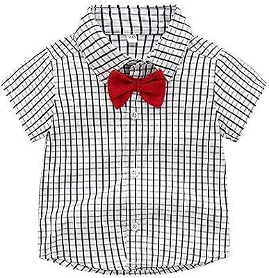 Conjuntos de ropa para niños pequeños Traje de manga corta de los niños del muchacho del niño de verano Camisa de leñador tirantes a rayas ocasionales juego de dos piezas Trajes de