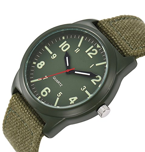 Vavna Lucky Unisex Canvas Strap Swiss Army Quartz Crime Army Watch Military Sport Wrist Watches - Army Green (Wrist Swiss Army Watch Quartz)