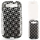 Cell Armor  Hybrid Fit-On Jelly Case for Samsung Galaxy S3 - Retail Packaging - Transparent Black and White Signs in Squares