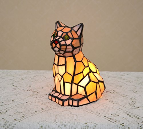 Stained Glass Tiffany Style Kitty Cat Night Light Table Desk - Cat The Tiffany