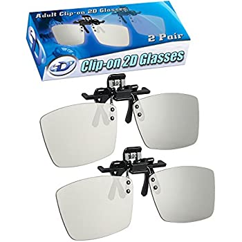 2D Glasses CLIP-ON 2 Pack - Turns 3D movies back into 2D - eDimensional 2 Pairs for SONY, LG, Vizio Passive 3-D TV's and with all other passive 3D Televisions also for use in RealD 3D Theaters!