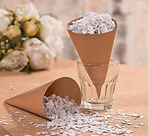Confetti Cones for Weddings, Candy Buffet, Brown Kraft Paper Cones (100 Count)