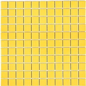 Mosaico Azulejos Ceramica Amarillo Brillante Para Pared Bano