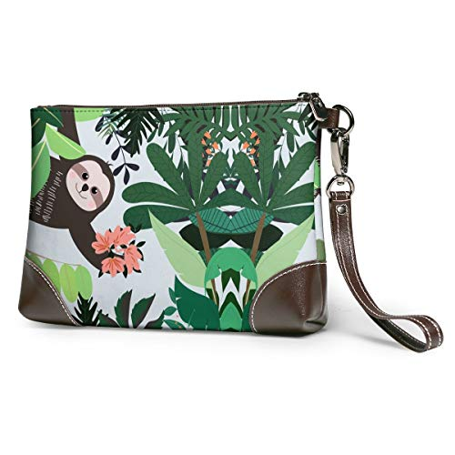 Women's Leather Zipper Wristlet Hand Drawn Baby Monkey Cellphone Card Wallets Clutch Holder Purse