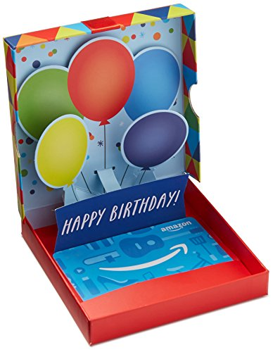 - Amazon.com Gift Card in a Birthday Pop-Up Box
