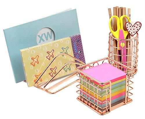 Superbpag Desk Supplies Organizer Kit- Letter Sorter, Pen Holder and Sticky Note Holder