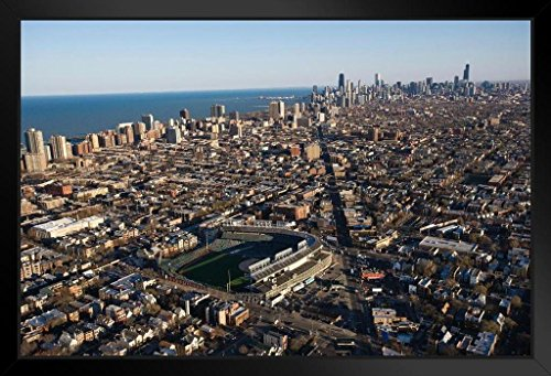 Chicago Illinois Skyline with Wrigley Field Photo Art Print Framed Poster 20x14 ()