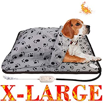 wangstar 2pcs Electric Pet Heat Pad 28''x23.6'', Heat Mat Pet Dog Cat Pets Heating Pad Temperature Adjustable Waterproof Chew Resistant Pet Heated Mat (28x23.6, X-Large Heating Pad)