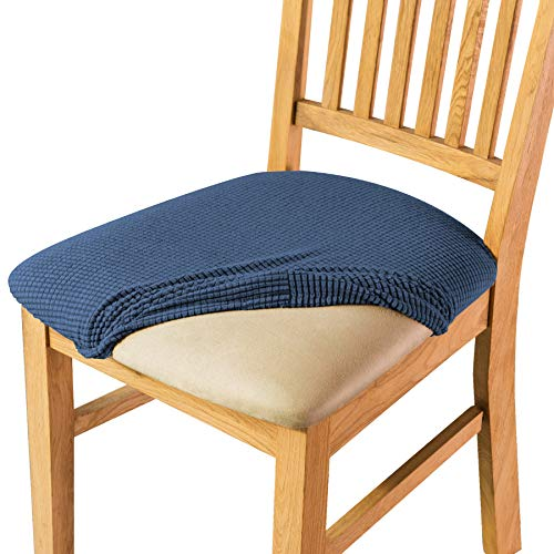 CHUN YI Jacquard Multifunction Fitted Chair Seat Cover,High Elasticity Durable Furniture Protector,Removable Washable Anti-Dust Chair Seat Cushion Slipcovers for Office Dining Room (2pcs, Denim Blue)