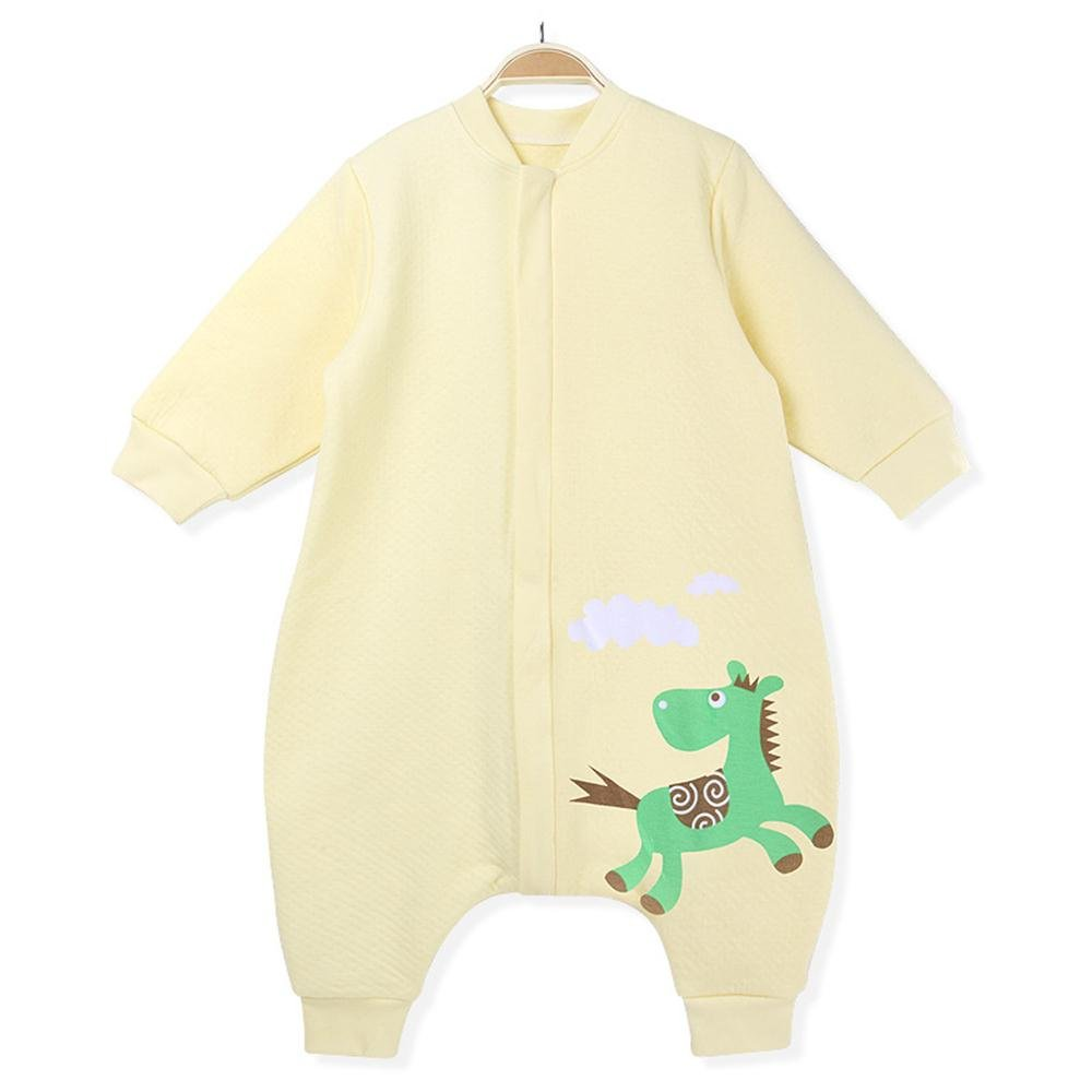 EsTong Baby Wearbale Blanke Long Sleeve Sleeping Sack with Feet for Early Walker Yellow 31 inches