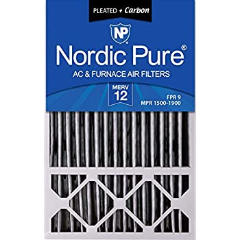 Nordic Pure 16x25x4/16x25x5 (4-3/8 Actual Depth) MERV 12 Pleated Plus Carbon Honeywell FC100A1029 Replacement AC Furnace Air Filter, 16 x 25 x 5