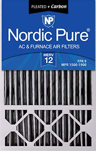 (Nordic Pure 16x25x5HPM12C-4 Honeywell Replacement Pleated MERV 12 Plus Carbon Filter (4 Pack), 16 x 25 x 5