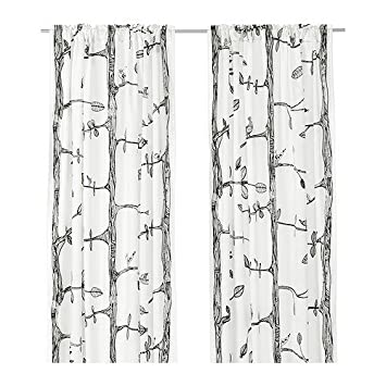 White Curtains black and white curtains ikea : Amazon.com: Ikea Tree and Bird Pattern Thin Curtains, 1 Pair ...