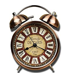 Justup Retro Alarm clock, Metal Twin Bell Classic Retro Table Alarm Clock Non Ticking Battery Operated with Backlight HD Glass Lense for Home Office (Roman NO.)