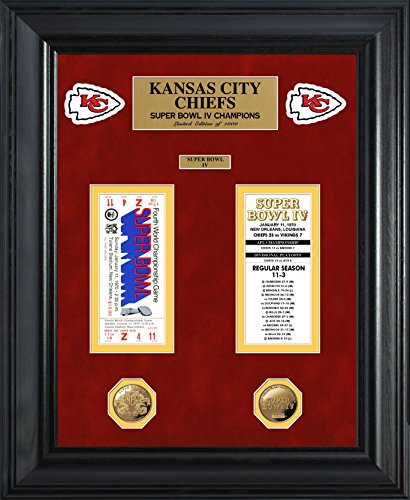 NFL Kansas City Chiefs Super Bowl Ticket and Game Coin Collection Framed, Gold, 32