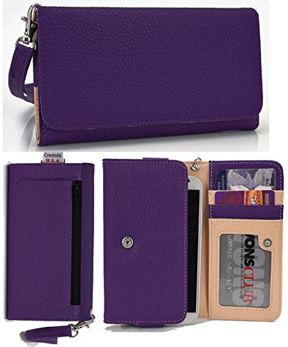 HTC EVO 3D Wallet Wristlet Clutch with Coin Money Zipper Pocket and Three ID Credit Card Compartments. Includes one Detachable Wrist Strap. Color: Purple (ESMLMTU1) (Htc Evo 3d Boost Mobile)