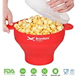Popcorn Maker for Microwave - Red - Premium Popcorn Popper - FDA approved BPA Free Silicone Bowl with Lid - Save on Hot Air and Machine Popcorn Popper - Cook Healthy Popcorn from Kernels