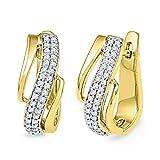 10kt Yellow Gold Womens Round Diamond Diagonal Double Row Hoop Earrings 1/4 Cttw