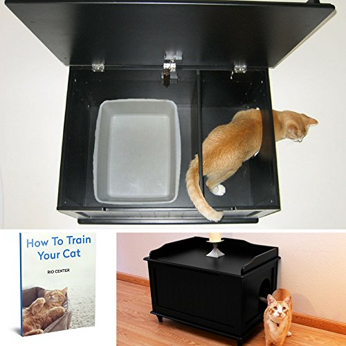 Cat Litter Box Furniture,Kitty Litter Box Enclosure,Best Large Litter Box Cabinet,Manufactured Wood,Iron And Aluminum,Decorative Cat Box & EBOOK HOW TO TRAIN YOUR CAT. by Cat