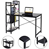 Modern Computer Desk With 4-Tier Shelves PC Workstation Study Table Home Office-Brown