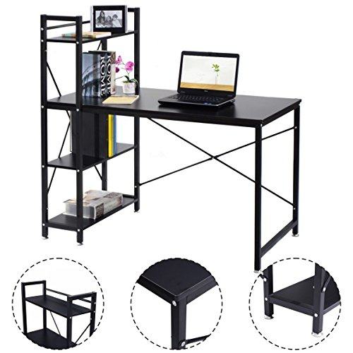 Modern Computer Desk With 4-Tier Shelves PC Workstation Study Table Home Office-Brown by Apontus