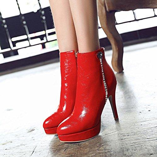 Mee Shoes Damen high heels Plateau Reißverschluss Stiefel Rot