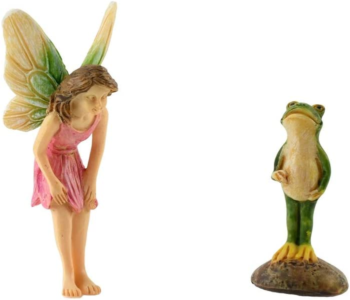 TG,LLC Treasure Gurus Fairy Princess Frog Prince Figurine Miniature Garden Statue Dollhouse Ornament