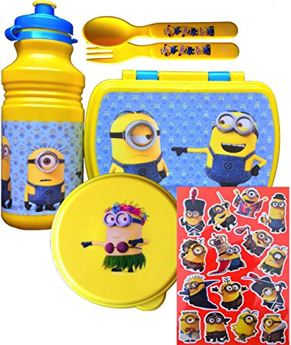 Despicable Me Minions Movie 5 Piece Lunch Set Includes Minion Pull-top Water Bottle, Minion Sandwich Container, Snack Container,utensils, and Handy Clip on Hand Sanitizer NEW (TALL PULL-TOP WATER BOTTLE WITH -