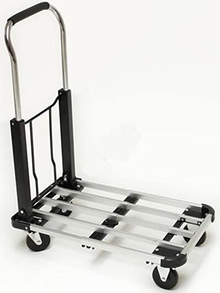 POWERFIX Transportroller flach Aluminium /& # /•; faltbar /& # /•; max 150/kg /& # /•; ausziehbar /& # /•; Lenkrollen