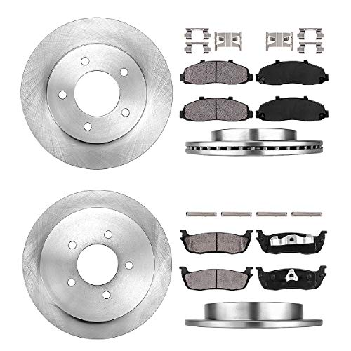 [ 4WD ] FRONT 308 mm + REAR 334.01 mm Premium OE 5 Lug [4] Rotors + [8] Quiet Low Dust Ceramic Brake Pads + Clips