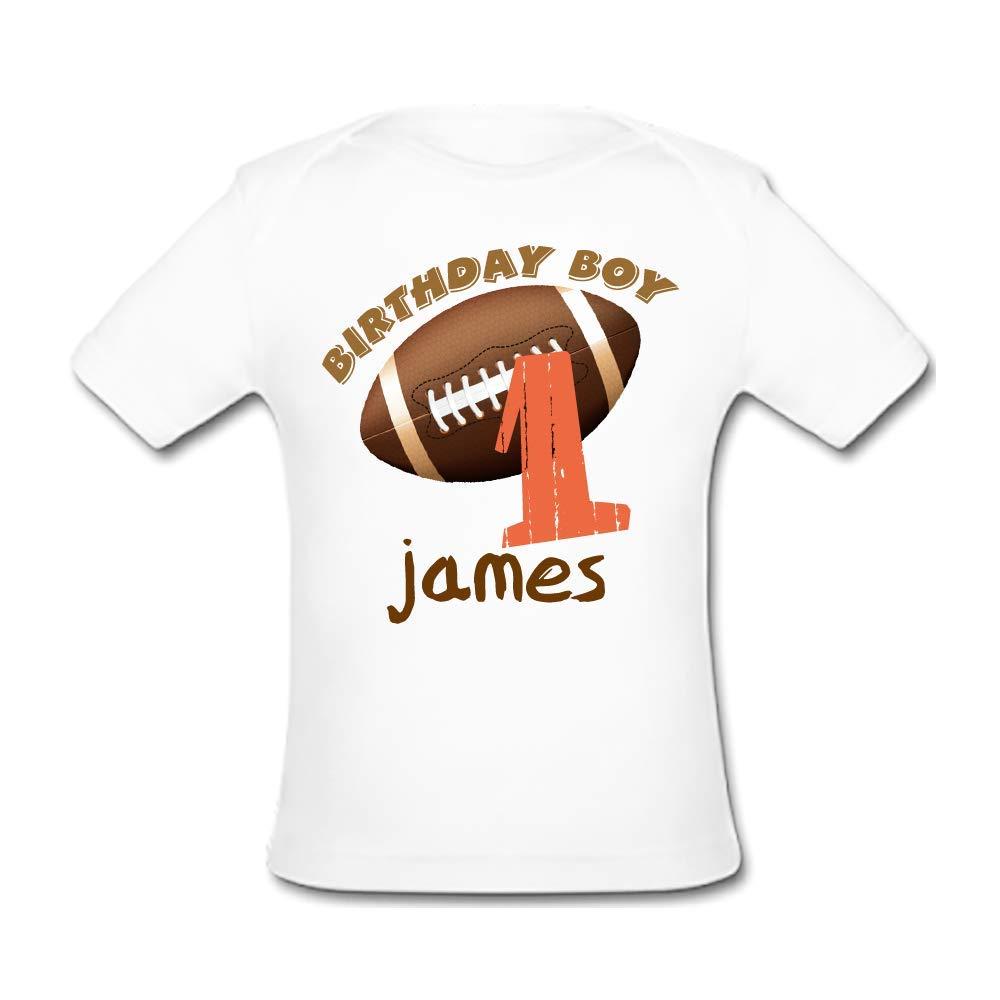 BrowneOLp Football Birthday Baby Organic Short Sleeve T-Shirt White