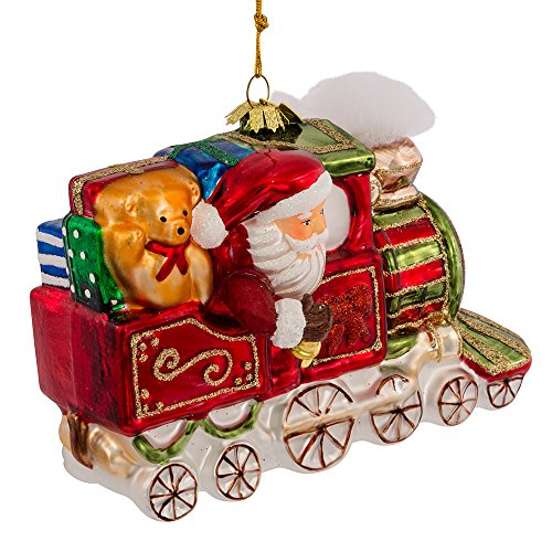Noble Gems Kurt Adler Glass Santa on Christmas Train Ornament, (Noble Gems Glass Ornament)