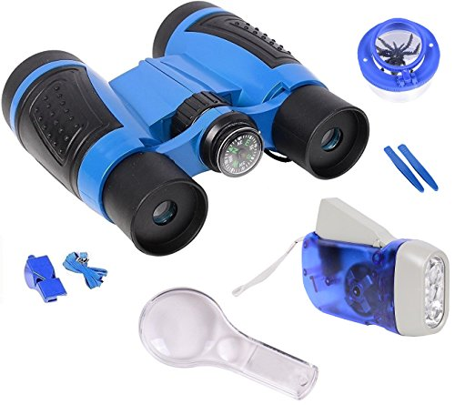 Binoculars For Kids By Olivia & Aiden - Outdoor Exploration Kit - Kids Binoculars, Compass, Hand Crank Flashlight, Whistle, Magnifying Glass, Insect Viewer Cup, Tweezers, and Backpack Distortion Compass