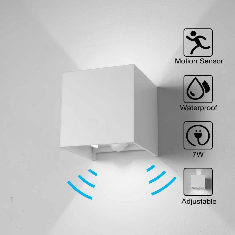 Wandleuchte Bewegungsmelder Aussen//Bewegungsmelder Innen LED Wandlampe 7W Kaltweiss Licht Wasserdicht Verstellbare Aussenlampe Wandleuchte Sensor f/ür Garten//Flur//Weg Veranda Hell-Wei/ß Schwarz