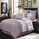 Egyptian Bedding Luxurious CAL KING Size 8 Piece PURPLE BLISS Comforter Set with Comforter, Pillow Shams, Decorative Pillows, Bed Skirt, Color Style Purple and White