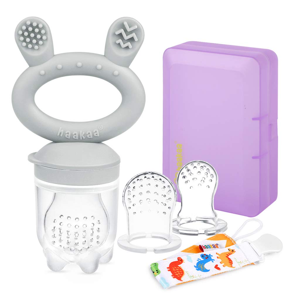 Haakaa Baby Food Feeder/Fruit Feeder Pacifier Silicone Baby Feeder Teether for Babies Infant Teething Toys for 3 Months+ BPA Free, with Pacifier Clip & Travel Case(1 Pack, Slate Grey)